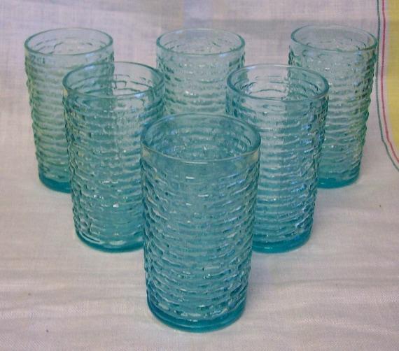 Vintage Anchor Hocking Fire King Glass Aquamarine Juice Tumbler Set 6