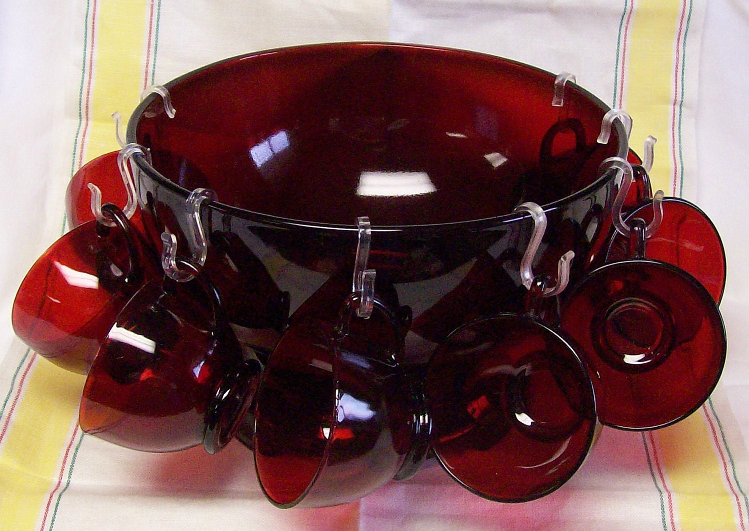 Vintage Fire King Anchor Hocking Royal Ruby Glass Punch Bowl