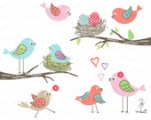 50% OFF SALE Love Birds Digital Clipart Set for Scrapbooking, Invitation, Photo card