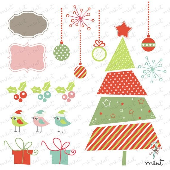 50% OFF SALE Christmas Fes Digital clipart set 1 for embellishment scrapbooking , card