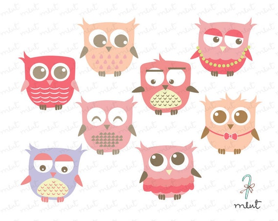Cute Pink Baby Owl Clipart for scrapbooking , invitation card - BUY 1 GET 1 FREE