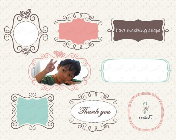 50% OFF SALE 40 Doodle Digital Frames Clipart Kit for digital scrapbooking, frame, invitation, stationery