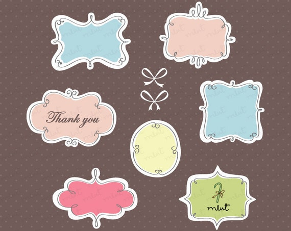 50% OFF SALE Digital Doodle Frames Clip art Design Set 2 - Digital Clipart for Scrapbooking, Photo Card, Invitation
