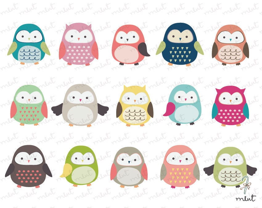 Owls clipart set | Etsy