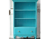 Bookcase with Drawer in Distressed Vintage Turquoise