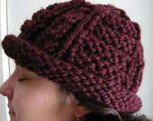 Burgundy Textured Roll Brim Knit Hat