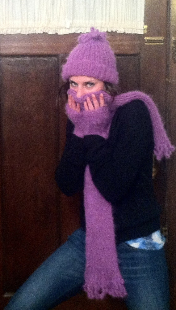 Petunia Purple Hat, Scarf, and Fingerless Mittens Set-Free Shipping