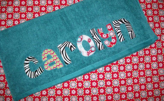 Personalized Applique NameTowel - You Choose Fabric and Towel Color -  Great Birthday Gift