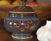 RESERVED for Meeka *** Ceramic Garlic Keeper / Frosted Brown with Orange, Blue and Green Notes