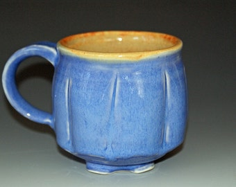 Ceramic Mug / Porcelain Mug / Blue / Orange Shino / Small