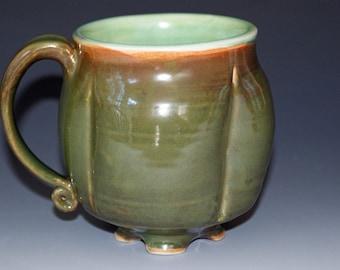 Ceramic Mug / Greens with notes of  Orange / Porcelain Mug