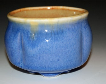 Ceramic Teabowl /  Blue and Burnt Orange