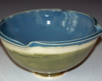 Ceramic Bowl / Pottery Bowl / SECOND / Grass Green / Sky Blue / Double Rim / Porcelain Bowl