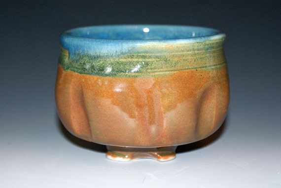Ceramic Teabowl - Porcelain Cup / Orange Brown / Lagoon Blue/ some Green
