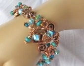 Copper Finish Bracelet with Turquoise Crystals and Dangles