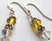 Sunflower Yellow Earrings, Sterling Silver and Swarovski Crystal French Earwire