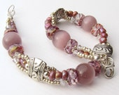 Mauve Beaded Bracelet with Cats Eye Beads Silver Spacers Seed Beads
