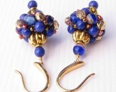 Hand Beaded Drop Earrings Lapis Blue and Red Gold Accents