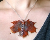 Real Leaf - Maple Leaf and Glass Icicle Pendant