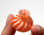 Hand Blown Glass Miniature Vase in Orange and White Stripes