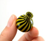 Hand Blown Glass Miniature Vase in Yellow and Black Stripes