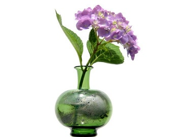 Hand Blown Glass, Green and Silver Bud Vase,