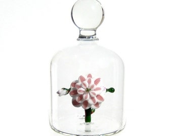 Glass Flower in a Jar - Ruby Stripes on White