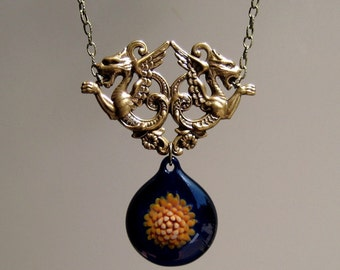 Cobalt Blue and Orange Glass Pendant - Mythical Beast Blown Glass Jewelry