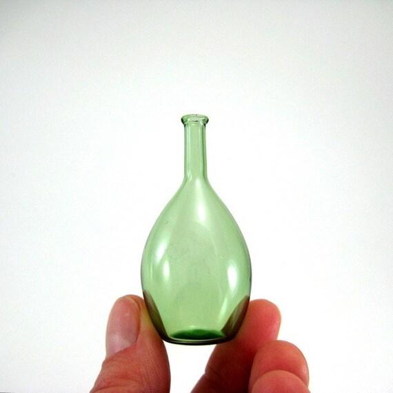 Miniature Bottle in Green, Hand Blown Glass
