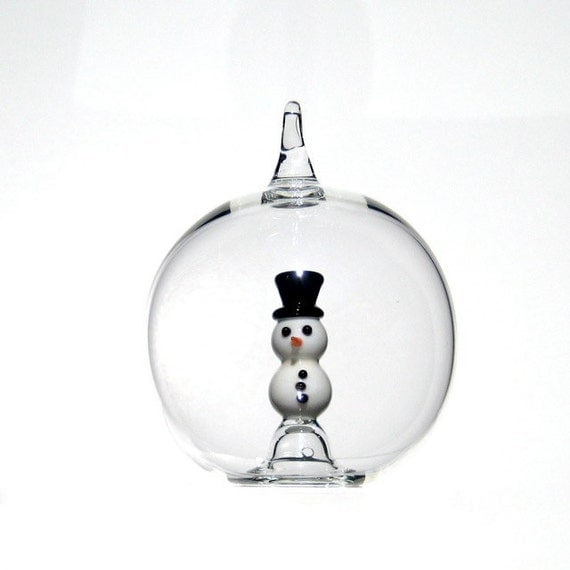 Glass Snowman Ornament, Christmas Ornament in Hand Blown Glass