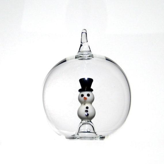Glass snowman ornament christmas in hand blown