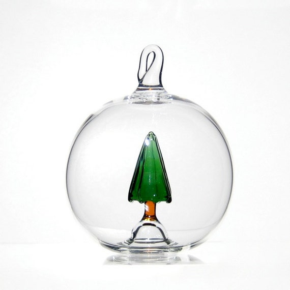 Blown glass christmas ornament pine tree ball