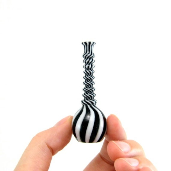 Hand Blown Glass Miniature Vase in White and Black Stripes