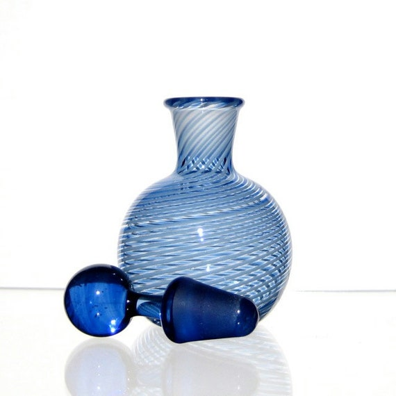 Perfume Bottle with Ground Glass Stopper, Cobalt Blue Stripes