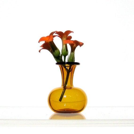 Miniature Vase in Yellow - Dollhouse Miniature Hand Blown Glass
