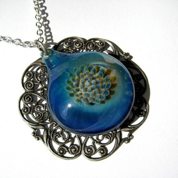 Hand Blown Glass Jewelry,  Pendant in Blue