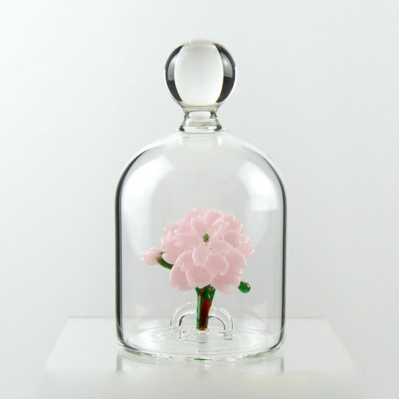 Glass Flower in a Jar - Pink Cherry Blossom