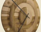 Zebra wall clock, zebra and maple, rings design, large clock