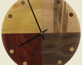 Natural color turned wood wall clock with four different woods