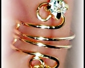 Alissa ear cuff wrap earring golden wire and rhinestones with cz sparkle