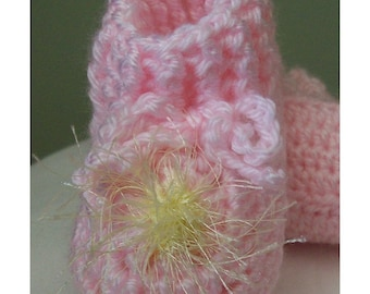 Pink Booties with Yellow Fun Fur