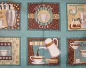 JAVA fabric aqua bistro/retro coffee panel by Deb Strain for Moda-1 panel