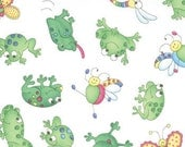 Girlie Girl - Frogs on white - Moda Fabrics OOP HTF