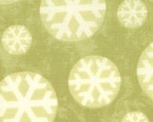 Merry and Bright - Snowflakes on green - Moda -1 yard