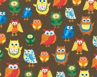 Woodland Friends 2 colorful owls on brown-animal fabric from Clothworks