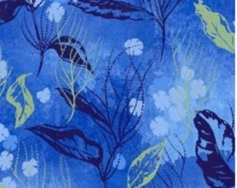 Serenity-leaves on deep blue-nature fabric-Clothworks