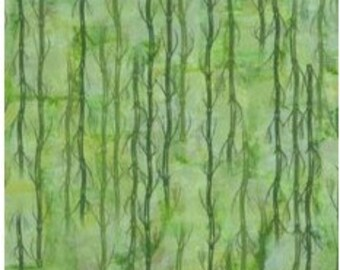 Serenity-bamboo on green-nature fabric-Clothworks