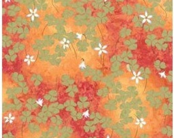 Serenity-shamrocks on terra cotta-nature fabric-Clothworks