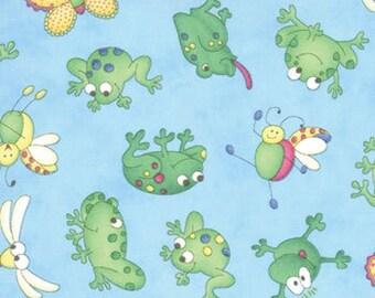 Girlie Girl Frog Friends on aqua - End of bolt/Remnant - OOP/HTF