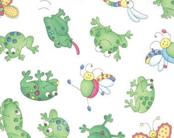 Girlie Girl - Frogs on white - Moda Fabrics OOP HTF
